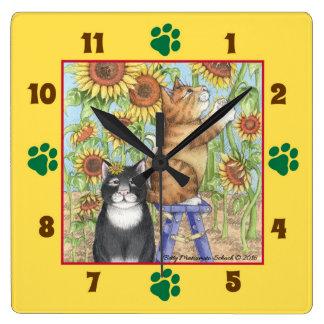 Relógio Quadrado Gatos com o pulso de disparo de parede quadrado