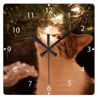 Relógio Quadrado Gatos e luzes - gato do Natal - árvore de Natal