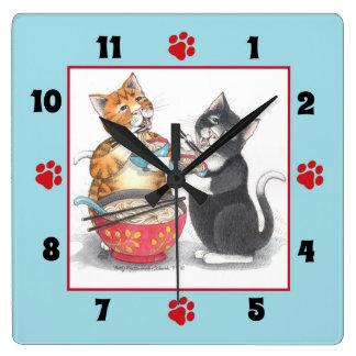 Relógio Quadrado Gatos que comem o pulso de disparo de parede