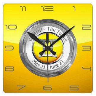 Relógio Quadrado Gêmeos - o sinal do zodíaco dos gêmeos