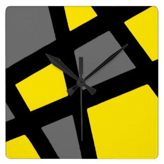 Relógio Quadrado Geométrico preto cinzento amarelo