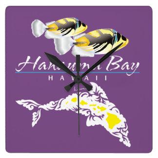 Relógio Quadrado Golfinho de Havaí e peixes do disparador
