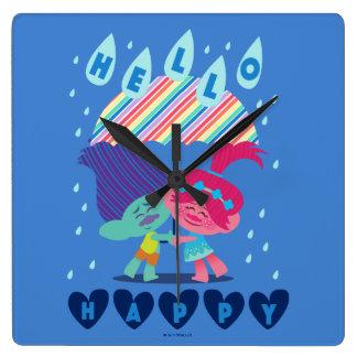 Relógio Quadrado Gotas felizes da chuva dos troll |