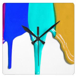 Relógio Quadrado Gotejamentos da pintura - cores da pintura do