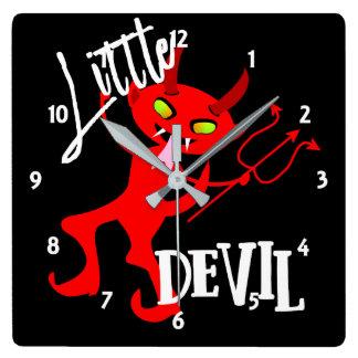 Relógio Quadrado Gráfico engraçado pequeno bonito do diabo vermelho