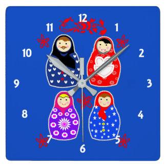 Relógio Quadrado Gráfico irrisório da boneca do russo de Matryoshka