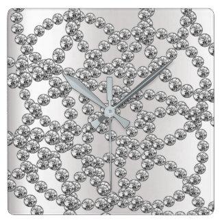 Relógio Quadrado Grafite de prata cinzenta da jóia do diamante