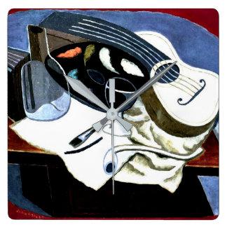 Relógio Quadrado Gris - a mesa do pintor; Pintura de Juan Gris