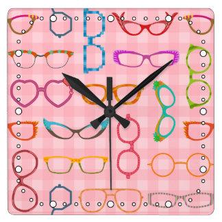 Relógio Quadrado Guingão cor-de-rosa dos Eyeglasses modernos retros