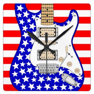 Relógio Quadrado Guitarra elétrica americana