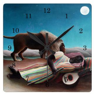 Relógio Quadrado Henri Rousseau o vintage aciganado do sono