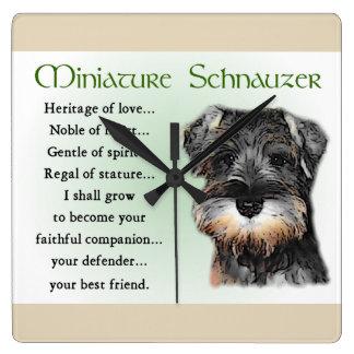 Relógio Quadrado Herança do filhote de cachorro do Schnauzer