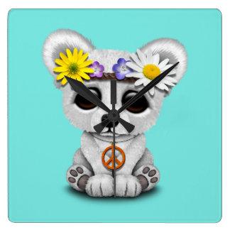 Relógio Quadrado Hippie bonito de Cub de urso polar do bebê