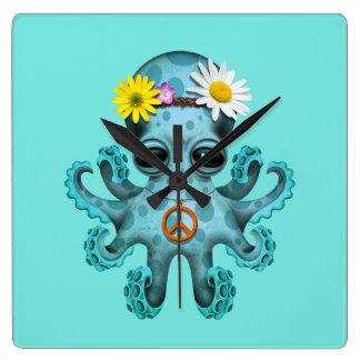 Relógio Quadrado Hippie bonito do polvo do bebê azul