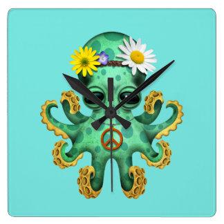 Relógio Quadrado Hippie verde bonito do polvo do bebê
