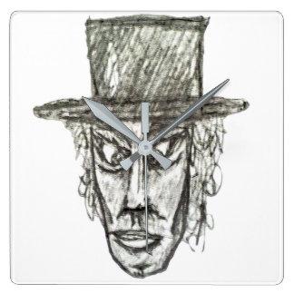 Relógio Quadrado Homem com ilustração do desenho de lápis da cabeça