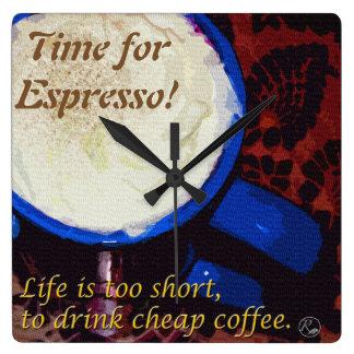 Relógio Quadrado Hora para o café!