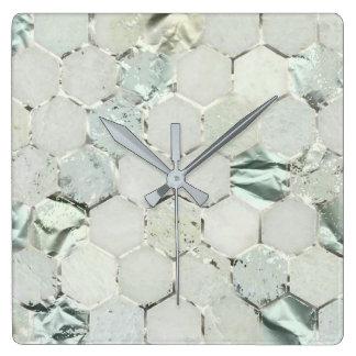 Relógio Quadrado Hortelã Honecom de mármore metálico de Tiffany do
