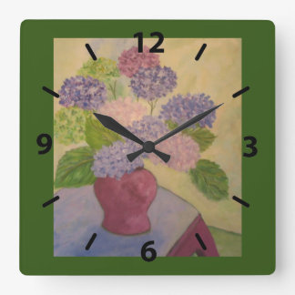 Relógio Quadrado Hydrangea lunático