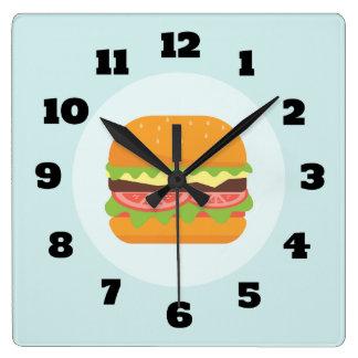 Relógio Quadrado Ilustração do Hamburger com tomate e alface