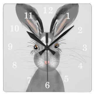Relógio Quadrado Ilustração irrisório da lebre cinzenta bonito