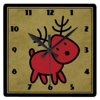 Relógio Quadrado Ilustração vermelha bonito da rena do Natal