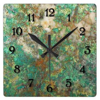 Relógio Quadrado Imagem de pedra mineral verde