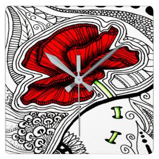 Relógio Quadrado Impressão abstrato da papoila do vintage