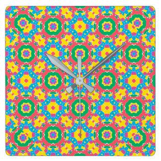 Relógio Quadrado Impressão colorido geométrico