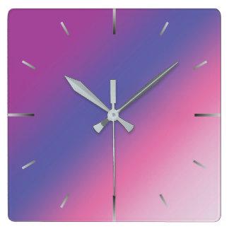 Relógio Quadrado inclinação azul roxo cor-de-rosa elegante do ombre