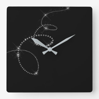 Relógio Quadrado Infinidade de cristal preta de Gemms Swarovski das
