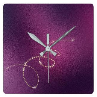 Relógio Quadrado Infinidade de vidro congelada cristais do ouro do