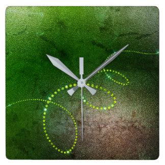 Relógio Quadrado Infinidade suja dos cristais marrons verdes das