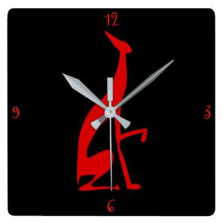 Relógio Quadrado Italiano do galgo meu chique vermelho da silhueta
