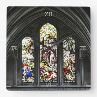 Relógio Quadrado Janela de vitral da catedral de Salisbúria