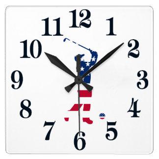 Relógio Quadrado Jogador de golfe da bandeira de América do golfe