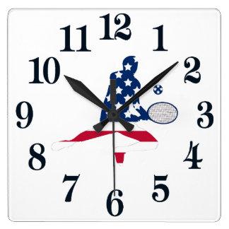 Relógio Quadrado Jogador do americano do tênis dos EUA