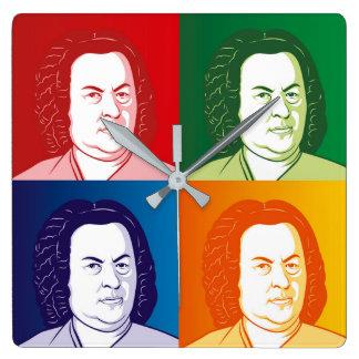 Relógio Quadrado Johann Sebastian Bach no estilo cartoon