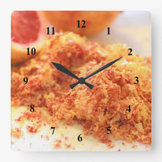 Relógio Quadrado Laranjas pigmentadas e entusiasmo suculentas do
