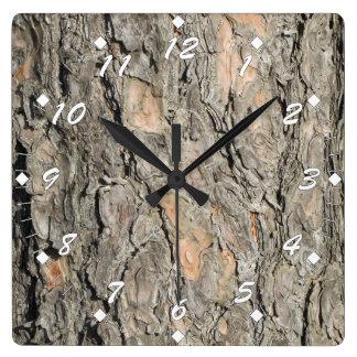 Relógio Quadrado Latido de pinheiro