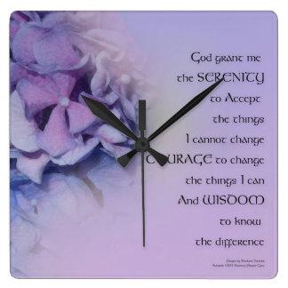 Relógio Quadrado Lavanda da harmonia dos Hydrangeas da oração da