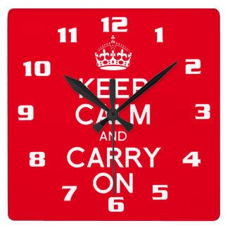 Relógio Quadrado Legal e clássico mantenha a calma e continue