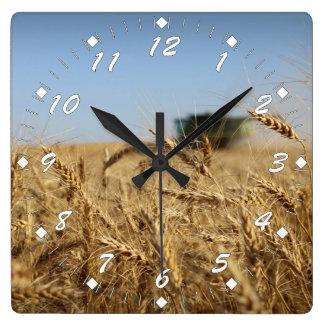 Relógio Quadrado Liga do verde da colheita do trigo