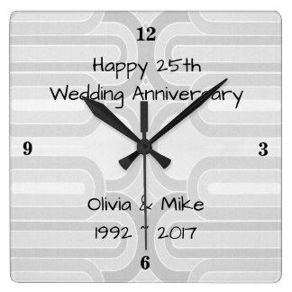 Relógio Quadrado Linha Curvy de prata 25o aniversário de casamento