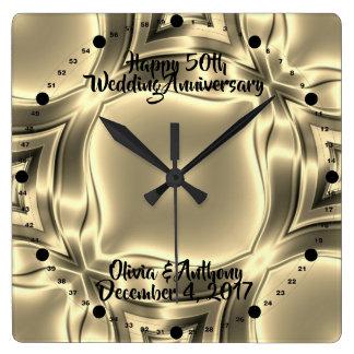 Relógio Quadrado Linhas 50th aniversário do ouro de casamento