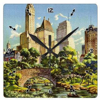 Relógio Quadrado Linhas de ar unidas reticulação de New York do
