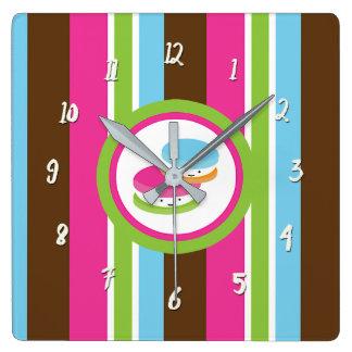 Relógio Quadrado Listras coloridas bonitos do divertimento dos