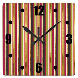 Relógio Quadrado Listras coloridas modernas no verde do rosa da