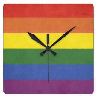 Relógio Quadrado Listras do arco-íris