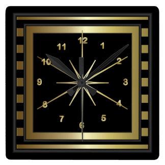 Relógio Quadrado Listras elegantes do preto e do ouro